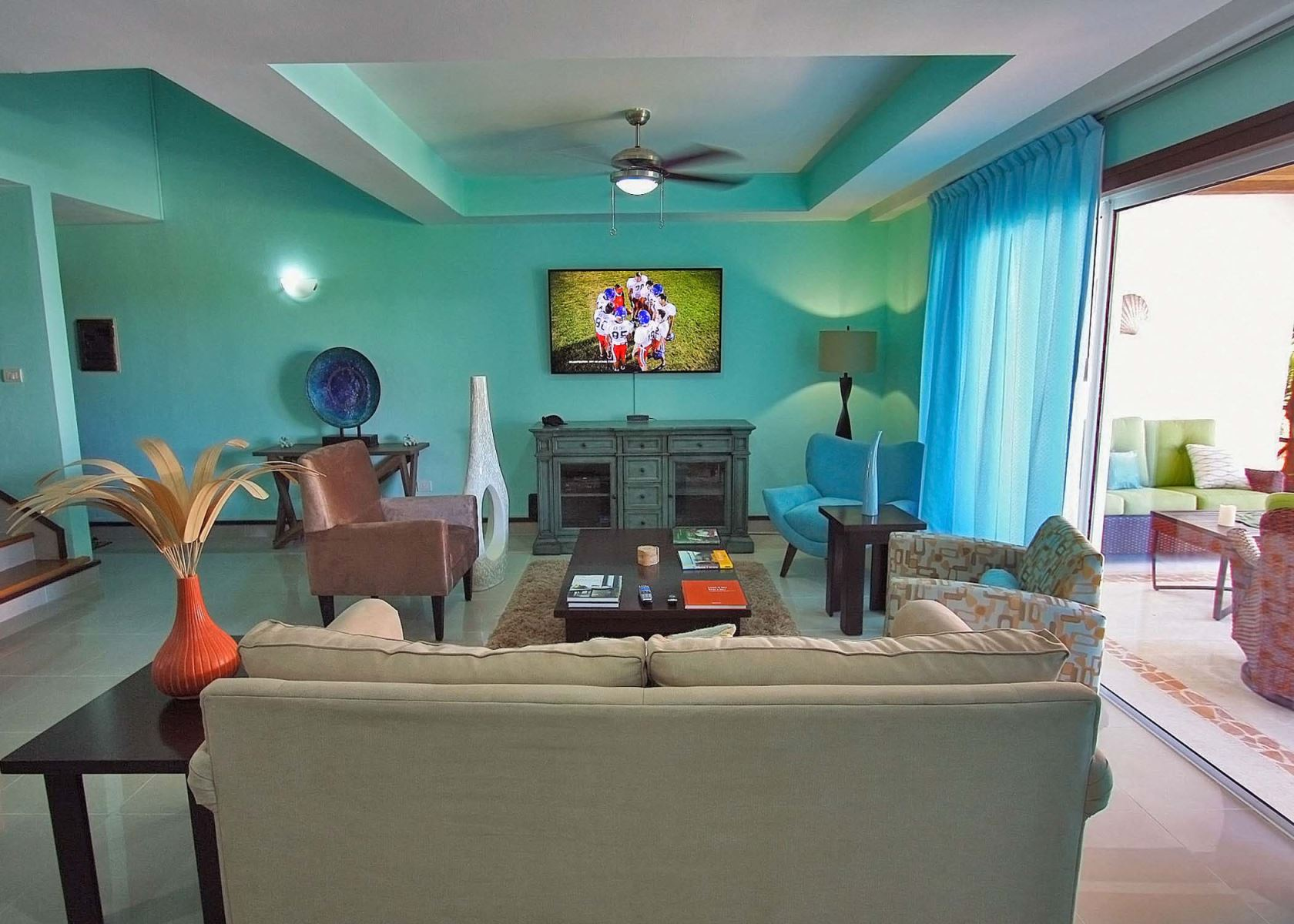 Living room with HDTV with US Dish Network service