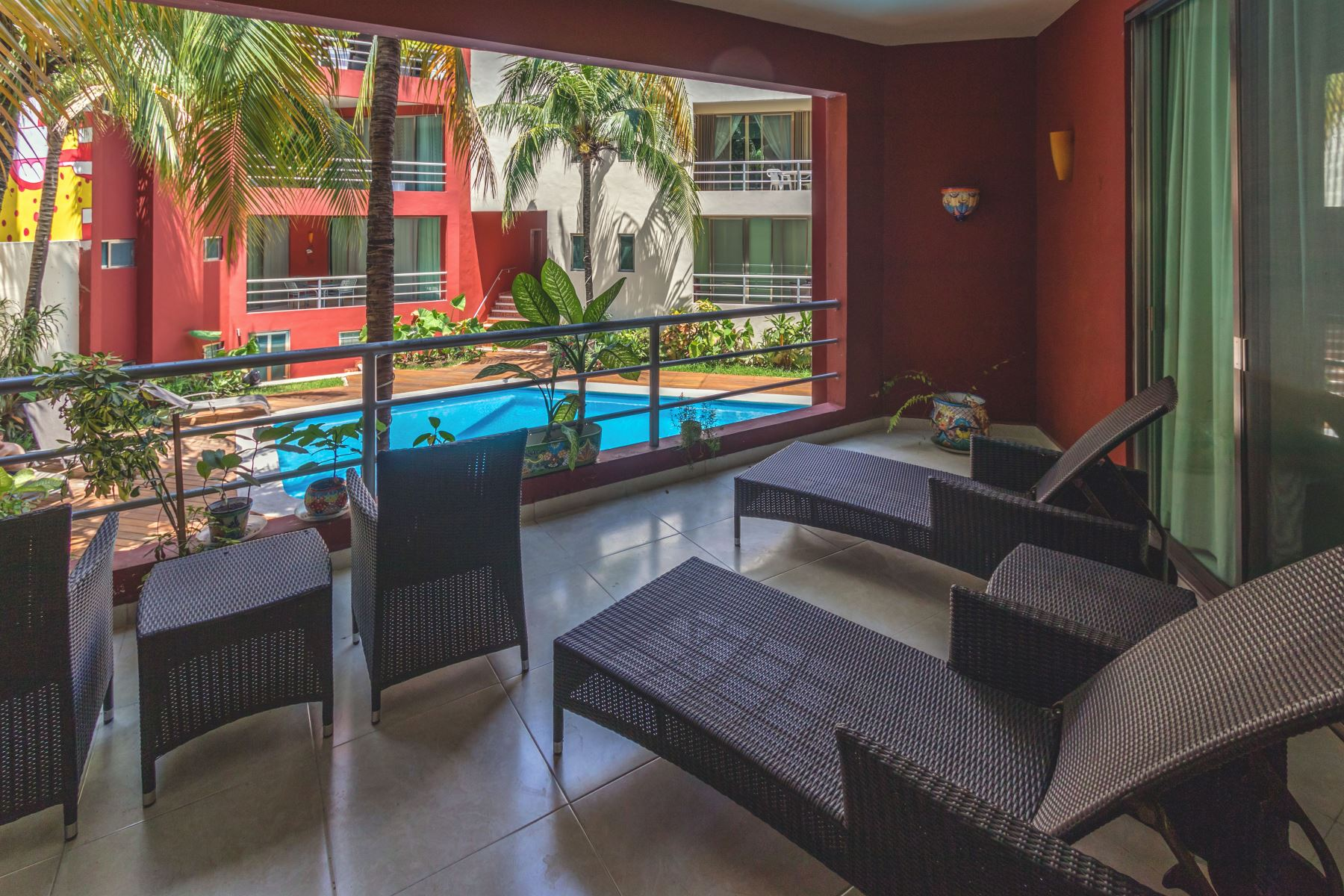 Your private terrace with pool view